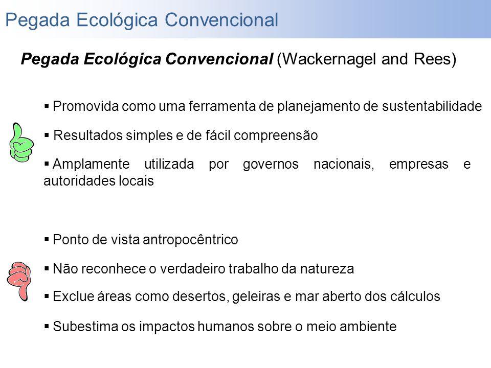 Pegada Ecológica Convencional (Wackernagel and Rees)  Promovida como uma ferramenta de planejamento de sustentabilidade  Resultados simples e de fác