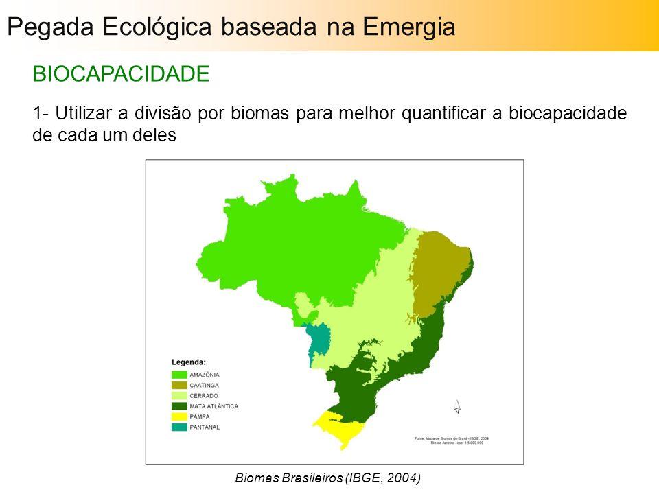 1- Utilizar a divisão por biomas para melhor quantificar a biocapacidade de cada um deles BIOCAPACIDADE Biomas Brasileiros (IBGE, 2004) Pegada Ecológi