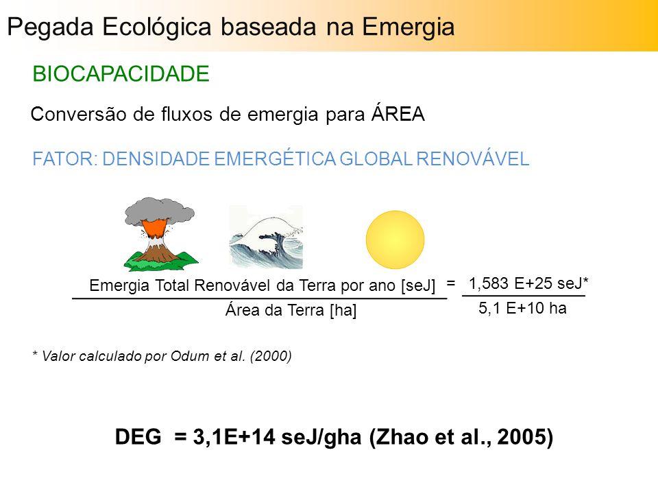 Pegada Ecológica baseada na Emergia BIOCAPACIDADE Conversão de fluxos de emergia para ÁREA FATOR: DENSIDADE EMERGÉTICA GLOBAL RENOVÁVEL Emergia Total