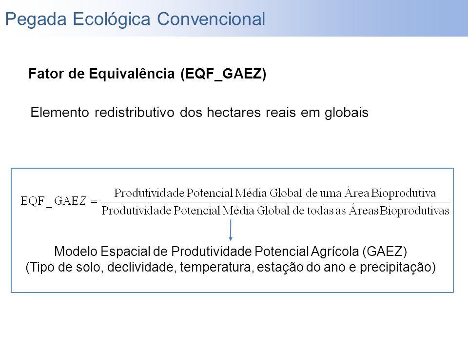 Fator de Equivalência (EQF_GAEZ) Elemento redistributivo dos hectares reais em globais Modelo Espacial de Produtividade Potencial Agrícola (GAEZ) (Tip