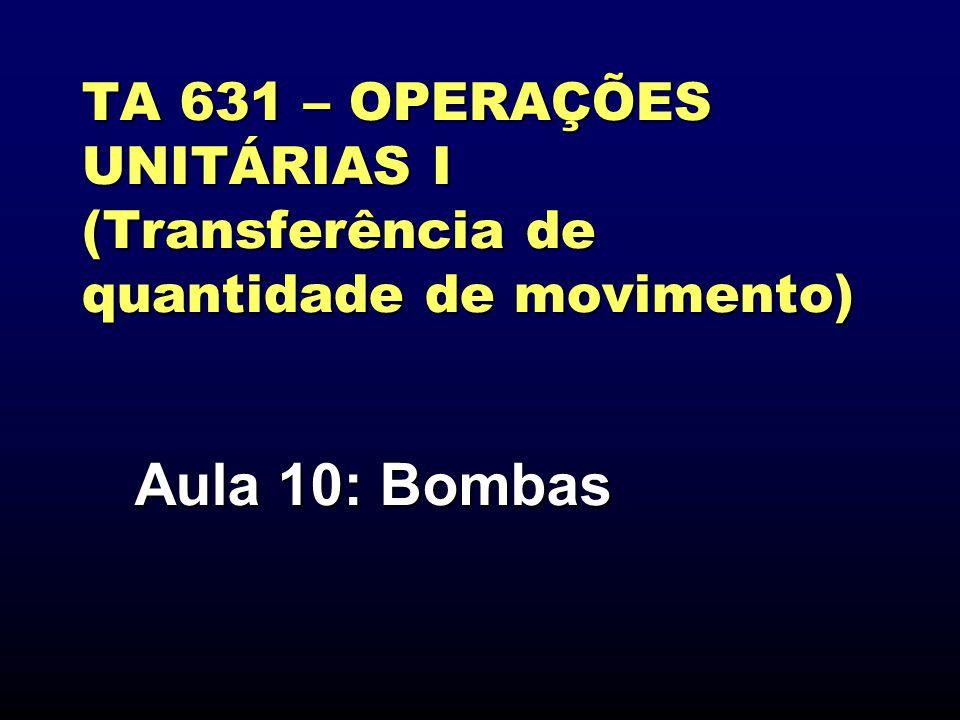 TA 631 – OPERAÇÕES UNITÁRIAS I (Transferência de quantidade de movimento) Aula 10: Bombas