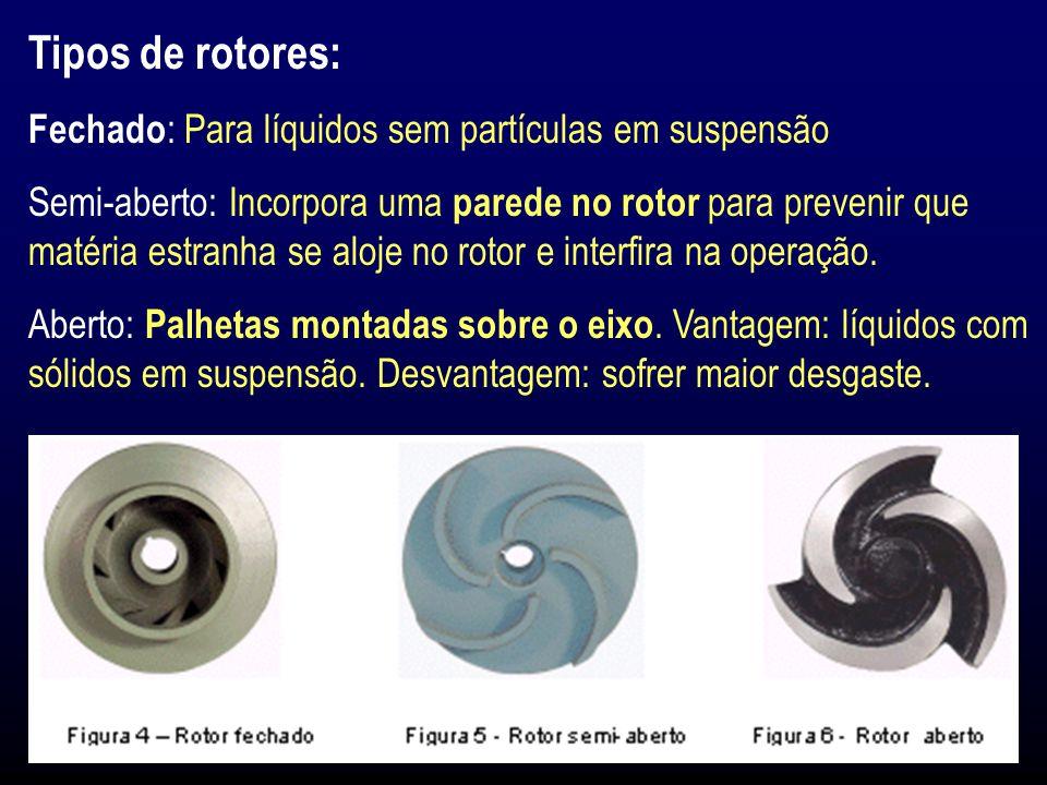 Tipos de rotores: Fechado : Para líquidos sem partículas em suspensão Semi-aberto: Incorpora uma parede no rotor para prevenir que matéria estranha se aloje no rotor e interfira na operação.