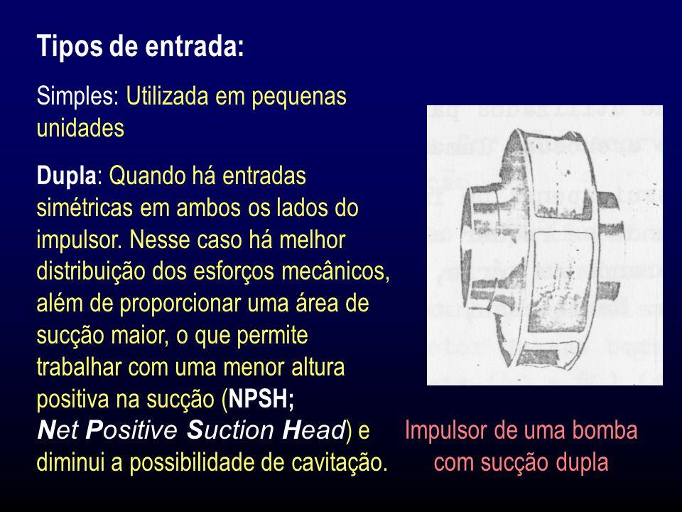 Tipos de entrada: Simples: Utilizada em pequenas unidades Dupla : Quando há entradas simétricas em ambos os lados do impulsor.