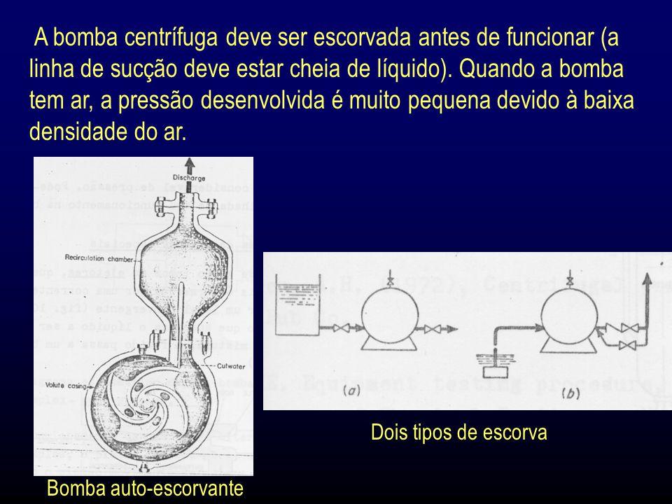 A bomba centrífuga deve ser escorvada antes de funcionar (a linha de sucção deve estar cheia de líquido).