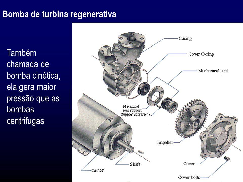 Bomba de turbina regenerativa Também chamada de bomba cinética, ela gera maior pressão que as bombas centrifugas