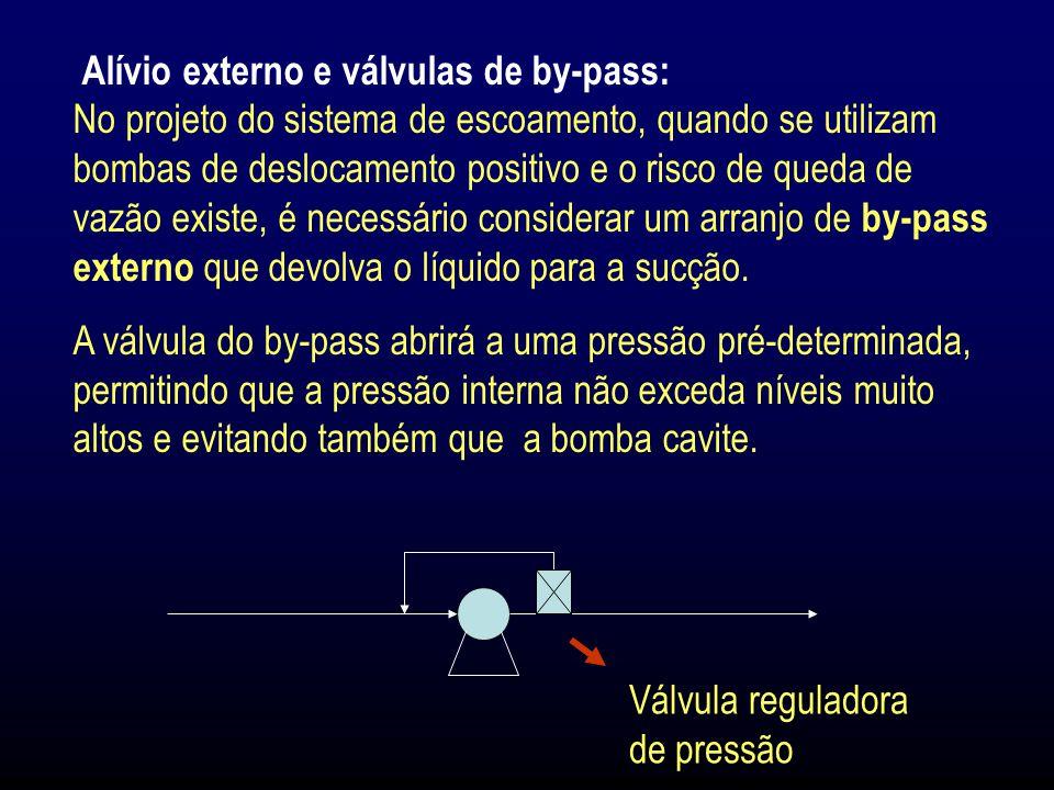 Alívio externo e válvulas de by-pass: No projeto do sistema de escoamento, quando se utilizam bombas de deslocamento positivo e o risco de queda de vazão existe, é necessário considerar um arranjo de by-pass externo que devolva o líquido para a sucção.