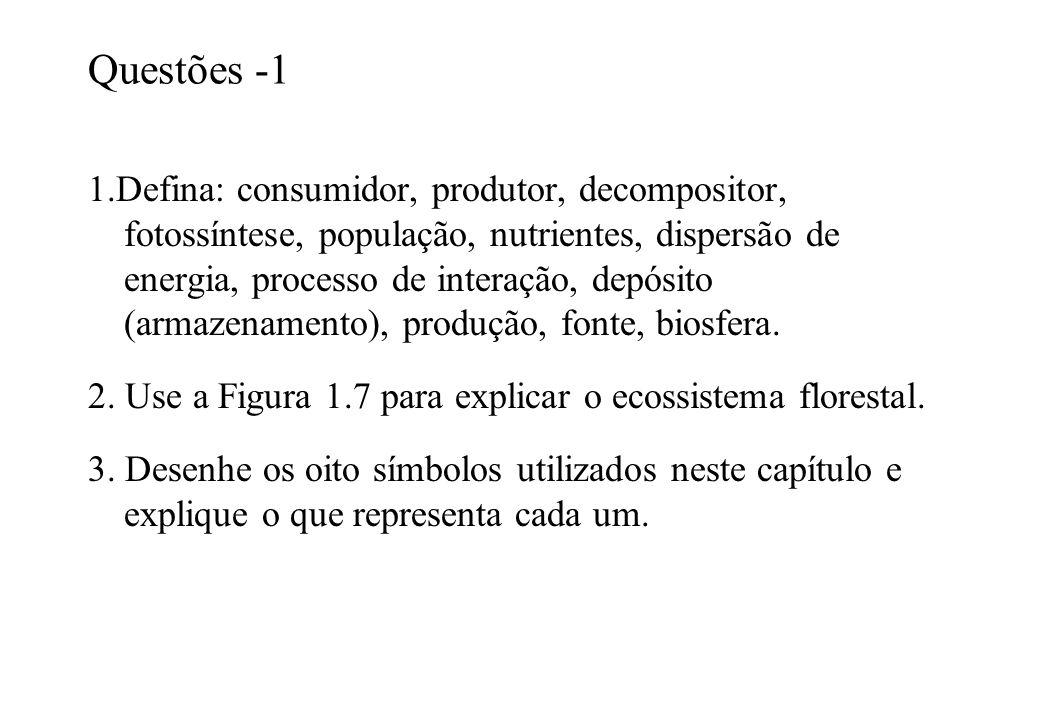 Questões -1 1.Defina: consumidor, produtor, decompositor, fotossíntese, população, nutrientes, dispersão de energia, processo de interação, depósito (