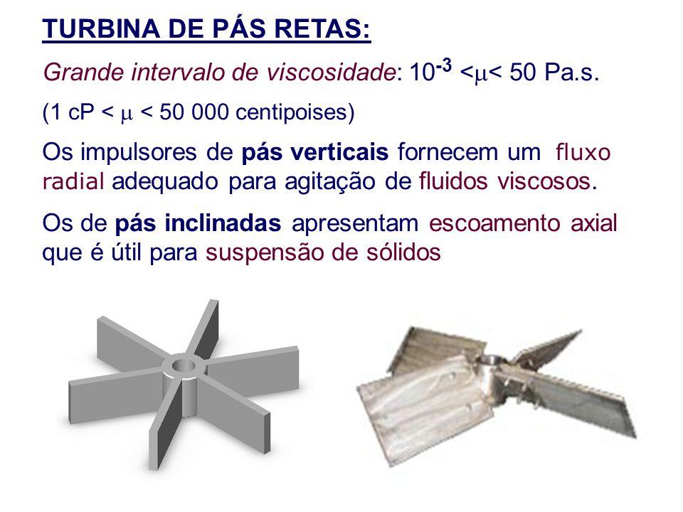 TURBINA DE PÁS RETAS: Grande intervalo de viscosidade: 10 -3 <  < 50 Pa.s. (1 cP <  < 50 000 centipoises) Os impulsores de pás verticais fornecem um