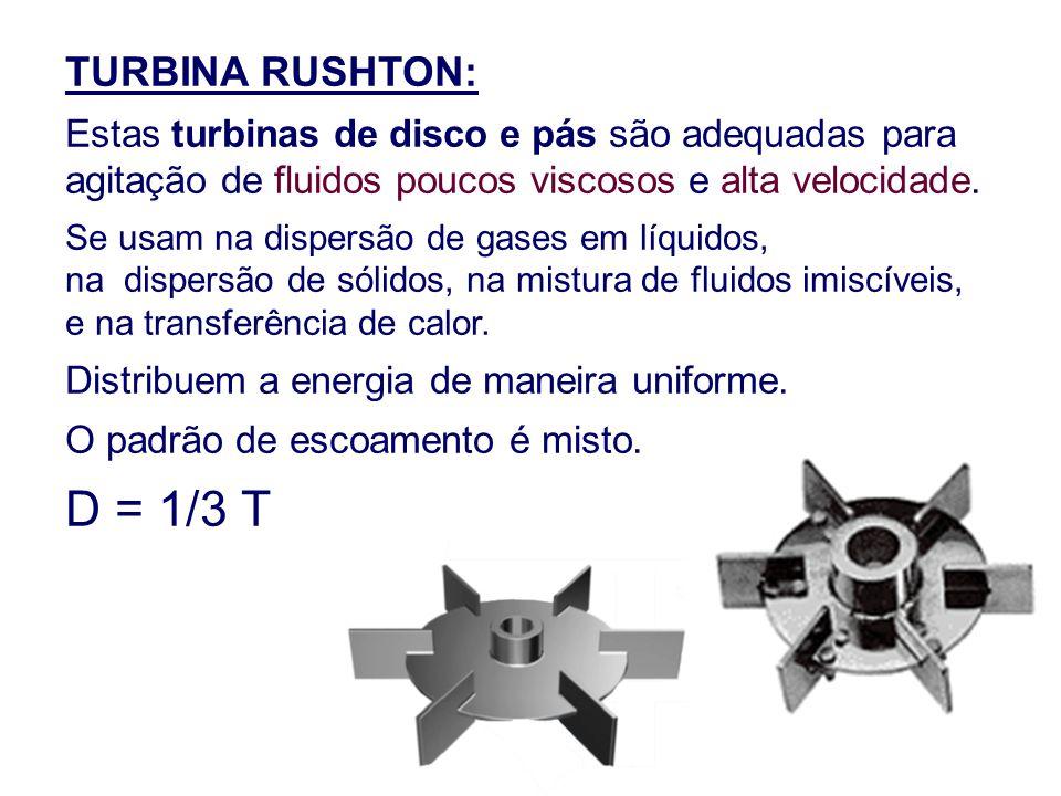 TURBINA RUSHTON: Estas turbinas de disco e pás são adequadas para agitação de fluidos poucos viscosos e alta velocidade. Se usam na dispersão de gases
