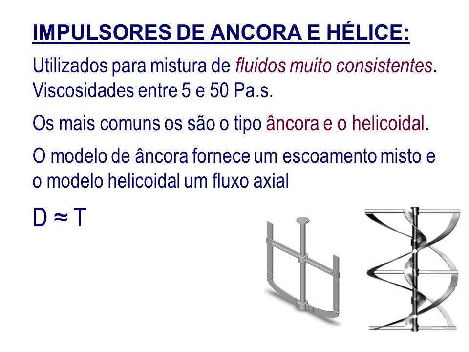 IMPULSORES DE ANCORA E HÉLICE: Utilizados para mistura de fluidos muito consistentes. Viscosidades entre 5 e 50 Pa.s. Os mais comuns os são o tipo ânc