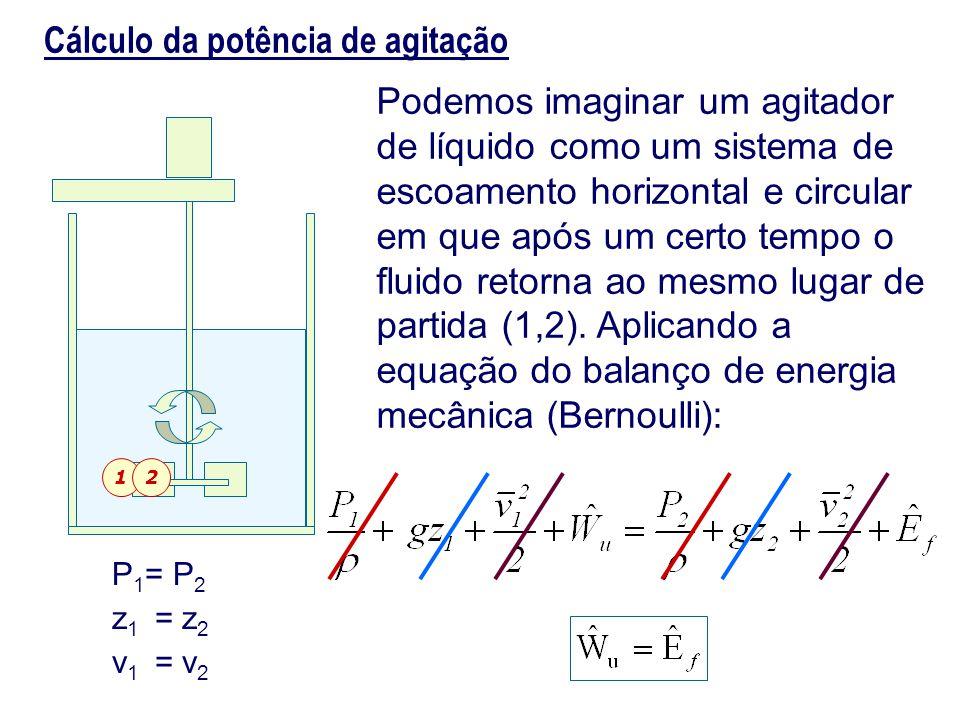 Cálculo da potência de agitação Podemos imaginar um agitador de líquido como um sistema de escoamento horizontal e circular em que após um certo tempo