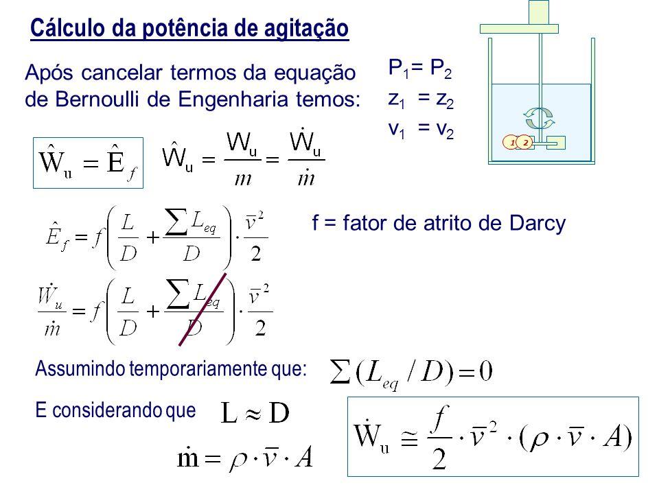 Cálculo da potência de agitação Após cancelar termos da equação de Bernoulli de Engenharia temos: P 1 = P 2 z 1 = z 2 v 1 = v 2 Assumindo temporariame