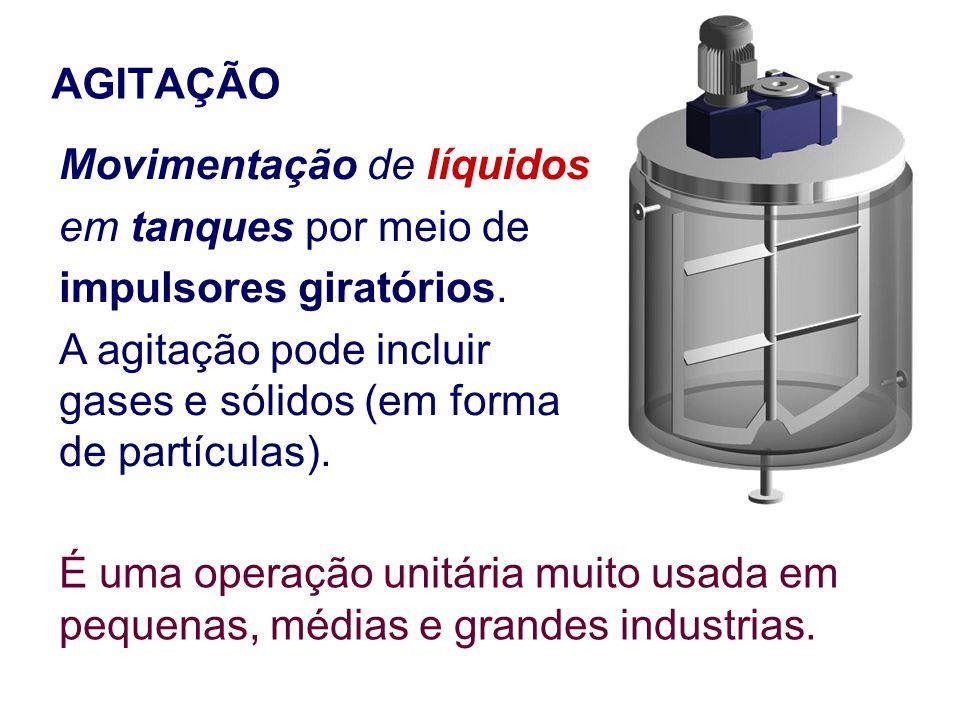 AGITAÇÃO Movimentação de líquidos em tanques por meio de impulsores giratórios. A agitação pode incluir gases e sólidos (em forma de partículas). É um