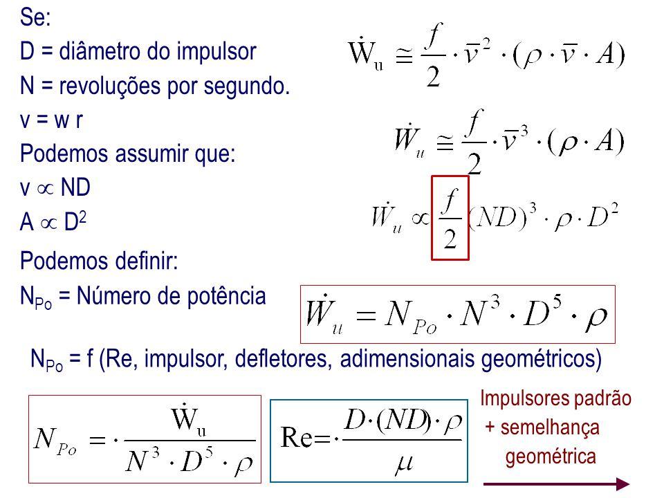 Se: D = diâmetro do impulsor N = revoluções por segundo. v = w r Podemos assumir que: v  ND A  D 2 N P o = f (Re, impulsor, defletores, adimensionai