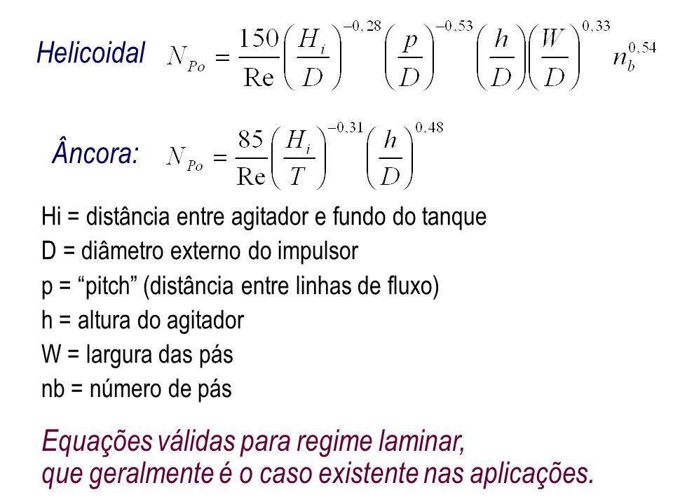 """Hi = distância entre agitador e fundo do tanque D = diâmetro externo do impulsor p = """"pitch"""" (distância entre linhas de fluxo) h = altura do agitador"""