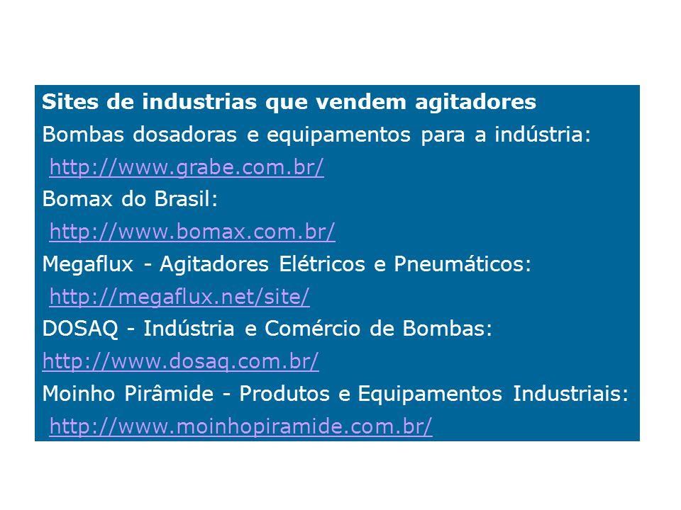 Sites de industrias que vendem agitadores Bombas dosadoras e equipamentos para a indústria: http://www.grabe.com.br/ Bomax do Brasil: http://www.bomax