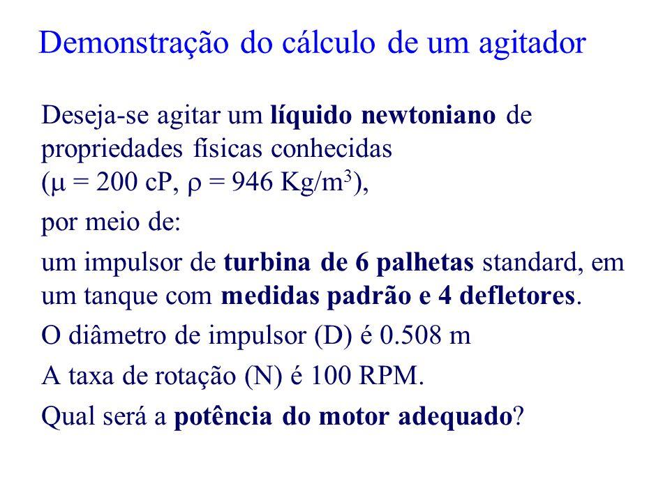 Demonstração do cálculo de um agitador Deseja-se agitar um líquido newtoniano de propriedades físicas conhecidas (  = 200 cP,  = 946 Kg/m 3 ), por m