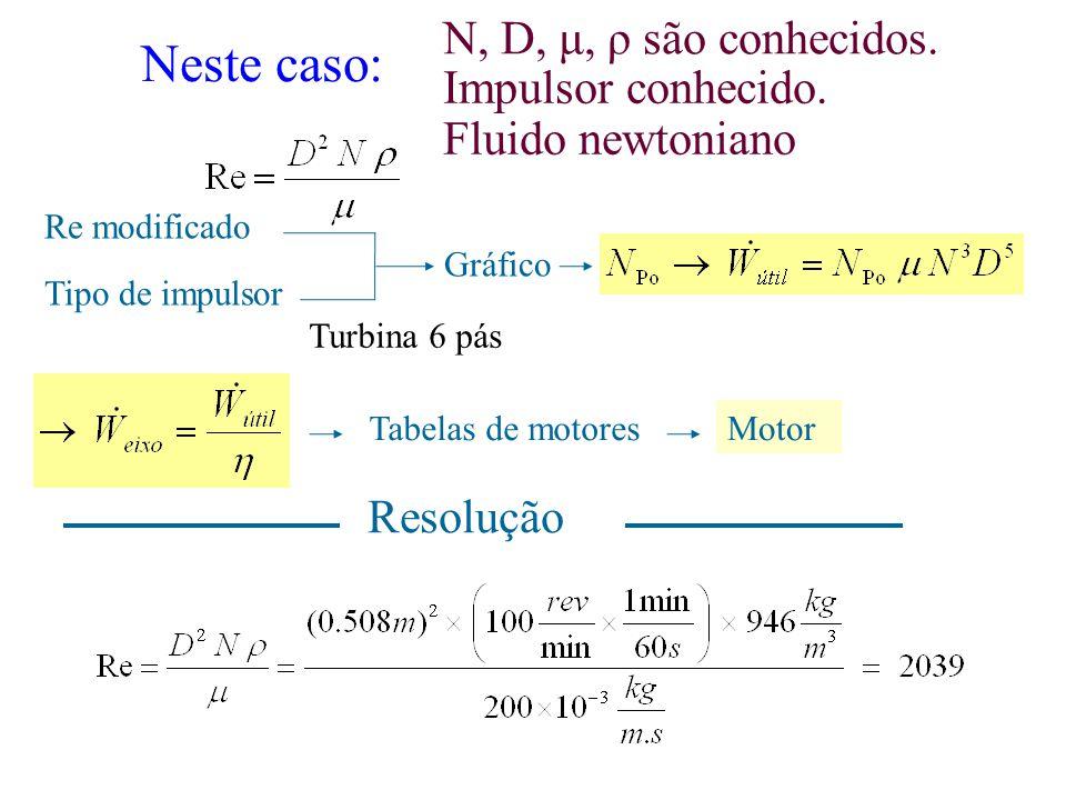 Neste caso: Re modificado Tipo de impulsor Gráfico Tabelas de motoresMotor N, D, μ, ρ são conhecidos. Resolução Impulsor conhecido. Fluido newtoniano