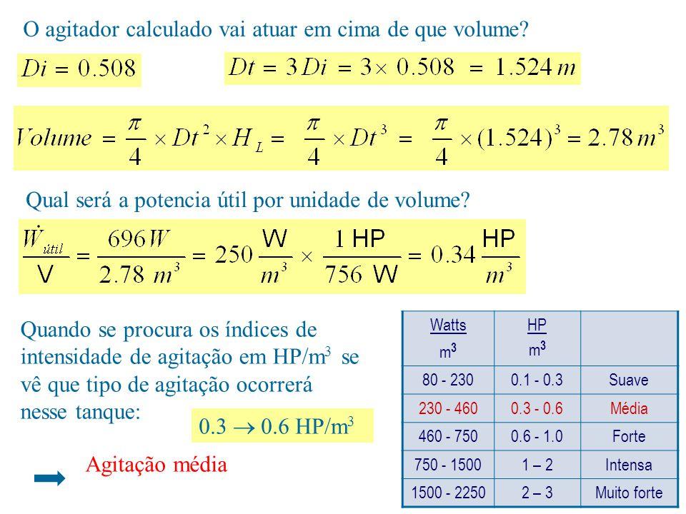 O agitador calculado vai atuar em cima de que volume? Qual será a potencia útil por unidade de volume? Quando se procura os índices de intensidade de