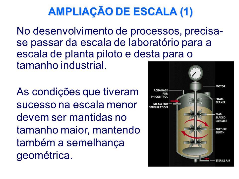 AMPLIAÇÃO DE ESCALA (1) No desenvolvimento de processos, precisa- se passar da escala de laboratório para a escala de planta piloto e desta para o tam