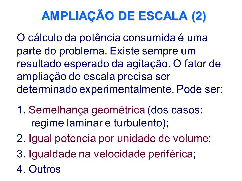 AMPLIAÇÃO DE ESCALA (2) O cálculo da potência consumida é uma parte do problema. Existe sempre um resultado esperado da agitação. O fator de ampliação