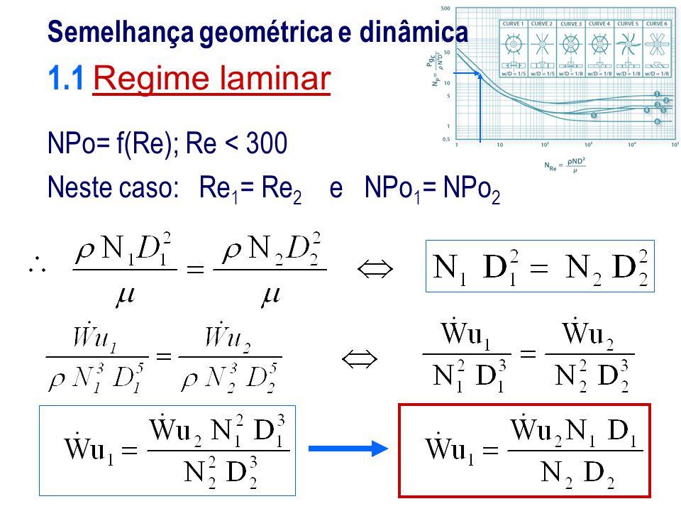 Semelhança geométrica e dinâmica 1.1 Regime laminar NPo= f(Re); Re < 300 Neste caso: Re 1 = Re 2 e NPo 1 = NPo 2