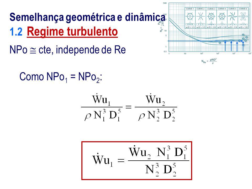 Como NPo 1 = NPo 2 : Semelhança geométrica e dinâmica 1.2 Regime turbulento NPo  cte, independe de Re