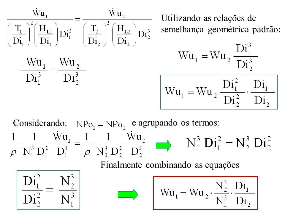 Finalmente combinando as equações Considerando: e agrupando os termos: Utilizando as relações de semelhança geométrica padrão: