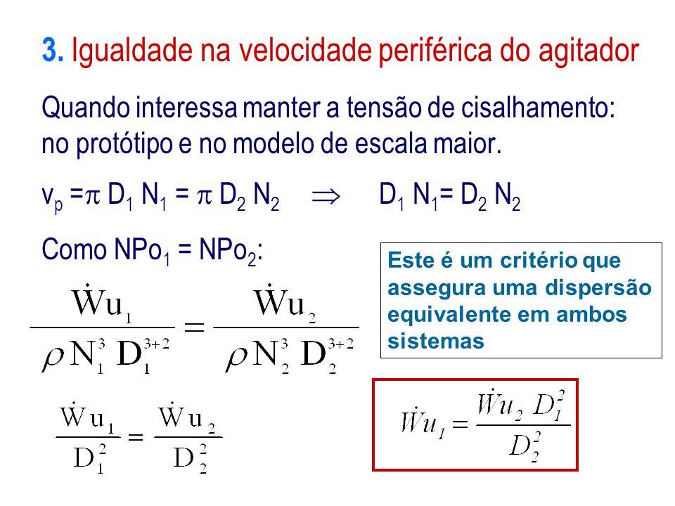 3. Igualdade na velocidade periférica do agitador Quando interessa manter a tensão de cisalhamento: no protótipo e no modelo de escala maior. v p = 