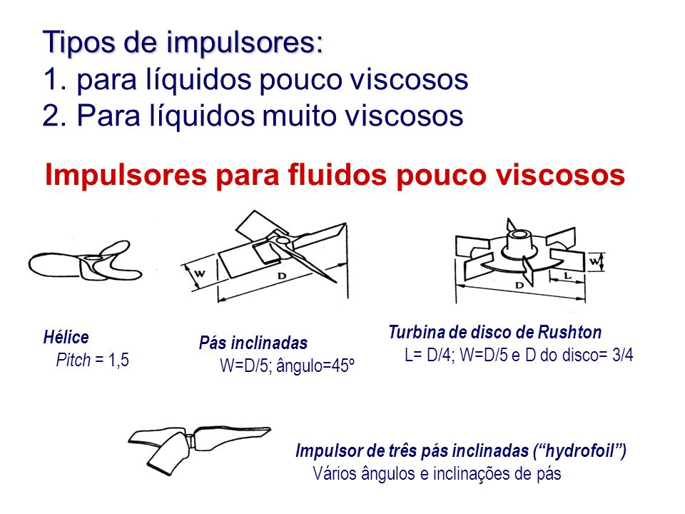 """Impulsores para fluidos pouco viscosos Turbina de disco de Rushton L= D/4; W=D/5 e D do disco= 3/4 Impulsor de três pás inclinadas (""""hydrofoil"""") Vário"""