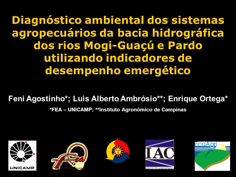 Diagnóstico ambiental dos sistemas agropecuários da bacia hidrográfica dos rios Mogi-Guaçú e Pardo utilizando indicadores de desempenho emergético Fen