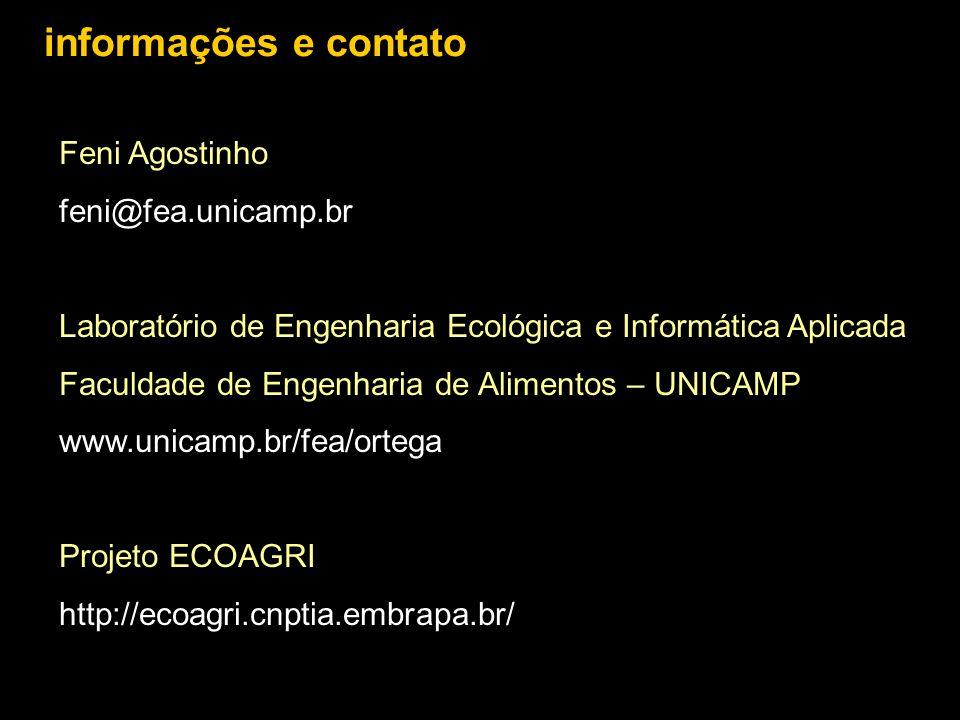 Feni Agostinho feni@fea.unicamp.br Laboratório de Engenharia Ecológica e Informática Aplicada Faculdade de Engenharia de Alimentos – UNICAMP www.unica