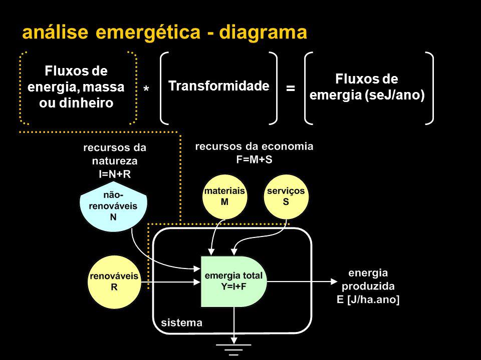 análise emergética - índices 1.Transformidade ……………………………………………….. Tr = Y/Ep 2.Renovabilidade …………………………………………………. %R = R/Y 3.Razão de rendimento emergético ………………… EYR = Y/F 4.Razão de investimento emergético ……………… EIR = F/I 5.Razão de carga ambiental ……………………………… ELR = N/R 6.Índice de sustentabilidade emergética ……….. SI = EYR/ELR 7.Razão de intercâmbio emergético ………………… EER = Y/($*seJ/$) Odum, H.T., 1996.