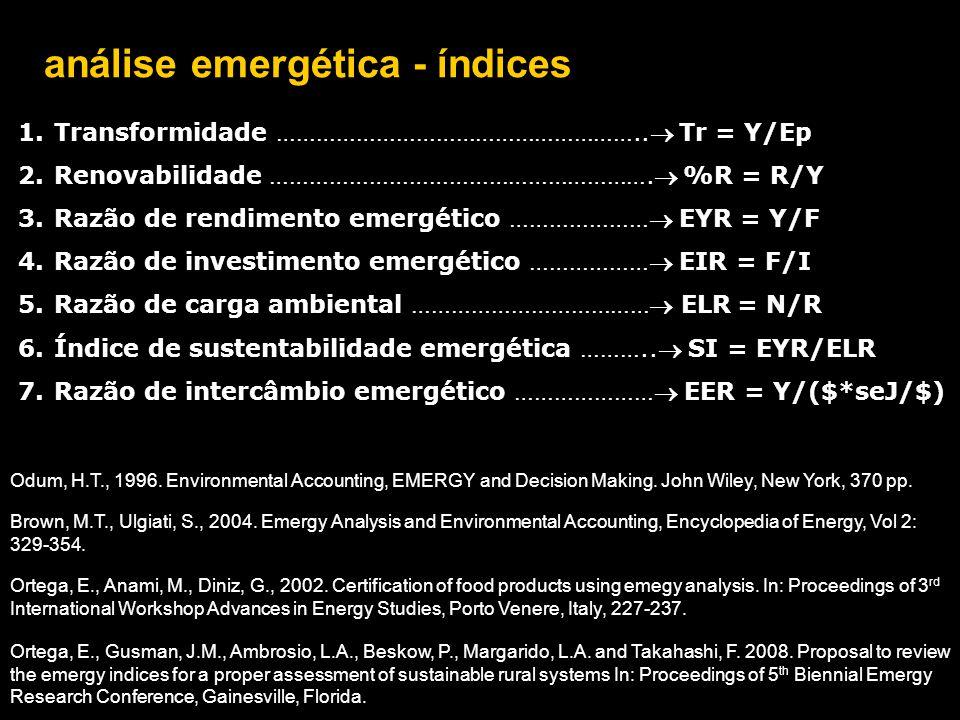 análise emergética - índices 1.Transformidade ……………………………………………….. Tr = Y/Ep 2.Renovabilidade …………………………………………………. %R = R/Y 3.Razão de rendimento em