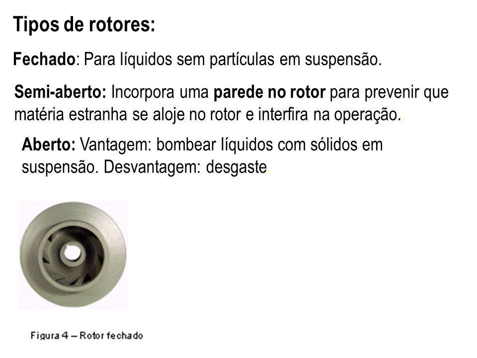 Tipos de rotores: Fechado : Para líquidos sem partículas em suspensão. 12 Semi-aberto: Incorpora uma parede no rotor para prevenir que matéria estranh