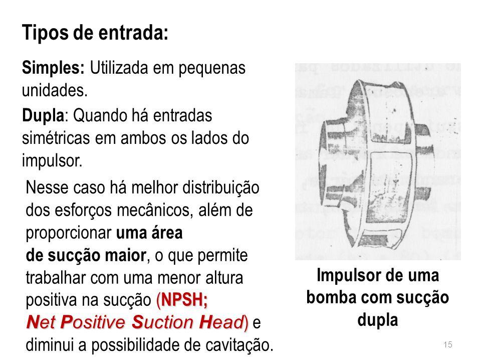 Tipos de entrada: Simples: Utilizada em pequenas unidades. Impulsor de uma bomba com sucção dupla 15 Dupla : Quando há entradas simétricas em ambos os