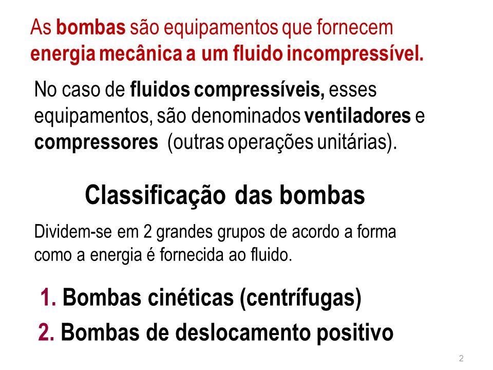 As bombas são equipamentos que fornecem energia mecânica a um fluido incompressível. Classificação das bombas Dividem-se em 2 grandes grupos de acordo