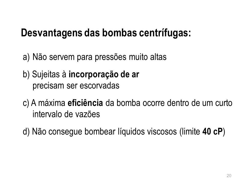 Desvantagens das bombas centrífugas: 20 a)Não servem para pressões muito altas b) Sujeitas à incorporação de ar precisam ser escorvadas c) A máxima ef