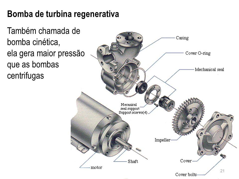 Bomba de turbina regenerativa Também chamada de bomba cinética, ela gera maior pressão que as bombas centrifugas 21