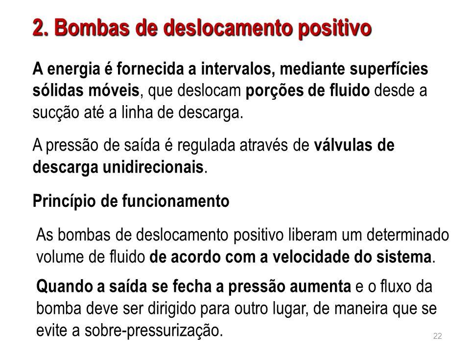 2. Bombas de deslocamento positivo A energia é fornecida a intervalos, mediante superfícies sólidas móveis, que deslocam porções de fluido desde a suc