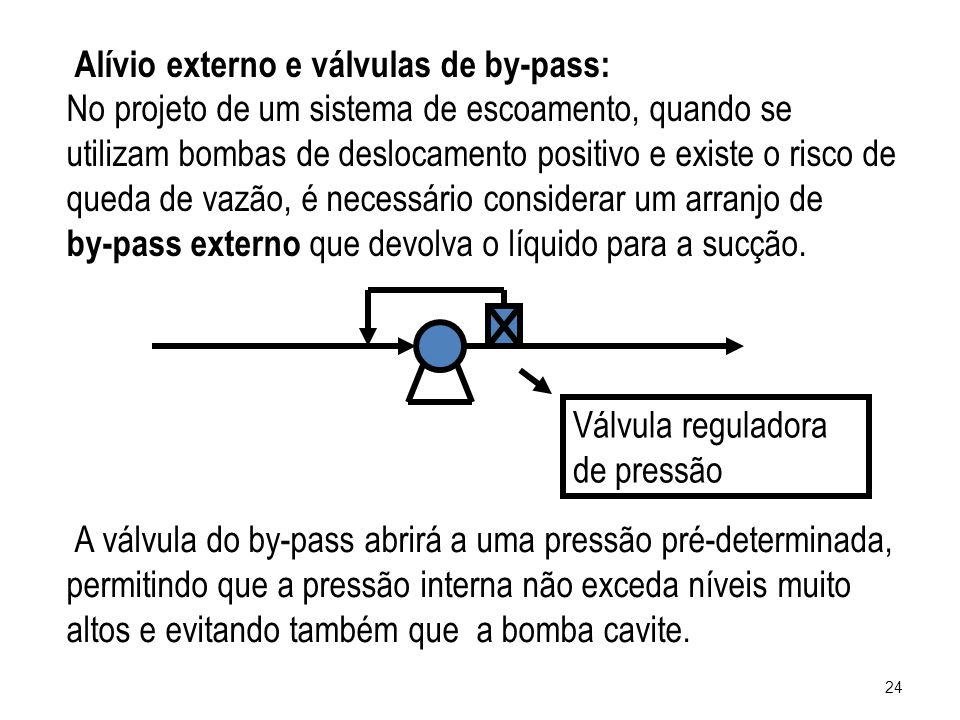 Alívio externo e válvulas de by-pass: No projeto de um sistema de escoamento, quando se utilizam bombas de deslocamento positivo e existe o risco de q