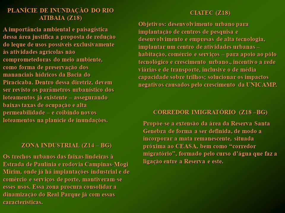 PLANÍCIE DE INUNDAÇÃO DO RIO ATIBAIA (Z18) A importância ambiental e paisagística dessa área justifica a proposta de redução do leque de usos possívei