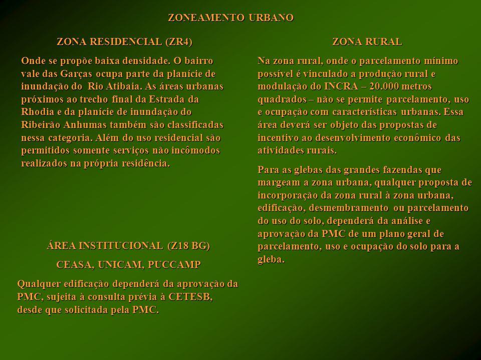 PLANÍCIE DE INUNDAÇÃO DO RIO ATIBAIA (Z18) A importância ambiental e paisagística dessa área justifica a proposta de redução do leque de usos possíveis exclusivamente às atividades agrícolas não comprometedoras do meio ambiente, como forma de preservação dos mananciais hídricos da Bacia do Piracicaba.