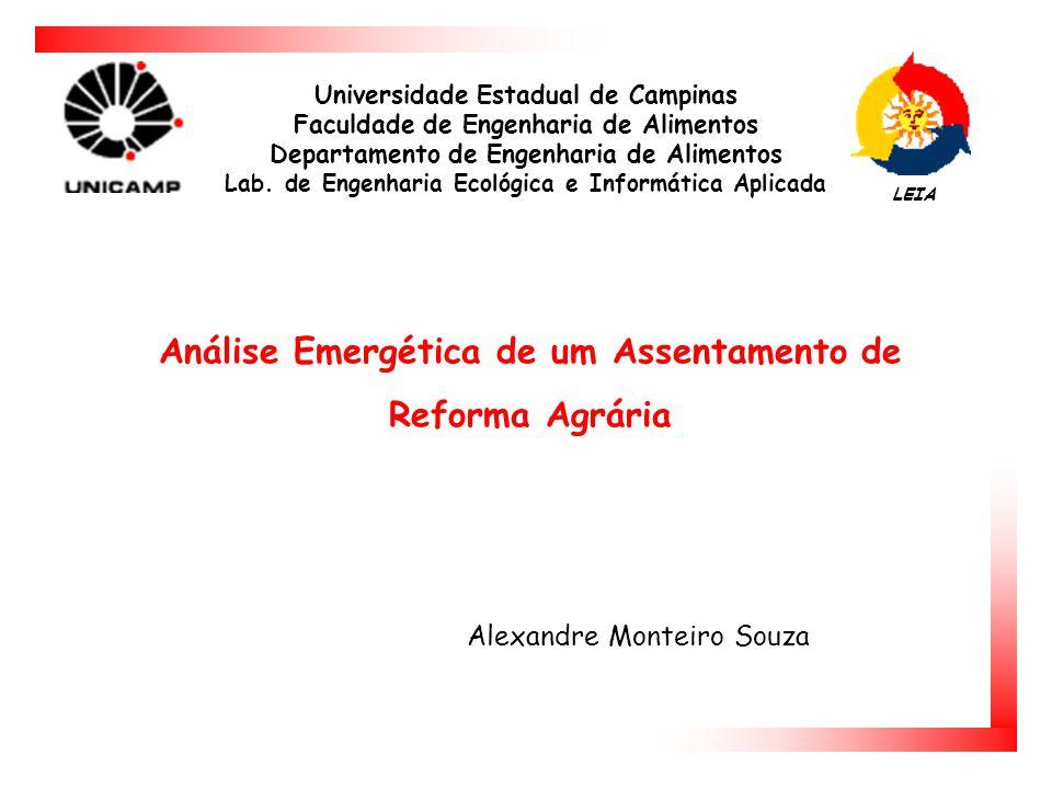 Análise Emergética de um Assentamento de Reforma Agrária Universidade Estadual de Campinas Faculdade de Engenharia de Alimentos Departamento de Engenharia de Alimentos Lab.