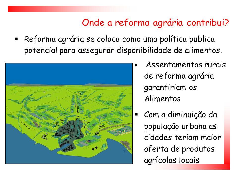  Reforma agrária se coloca como uma política publica potencial para assegurar disponibilidade de alimentos.