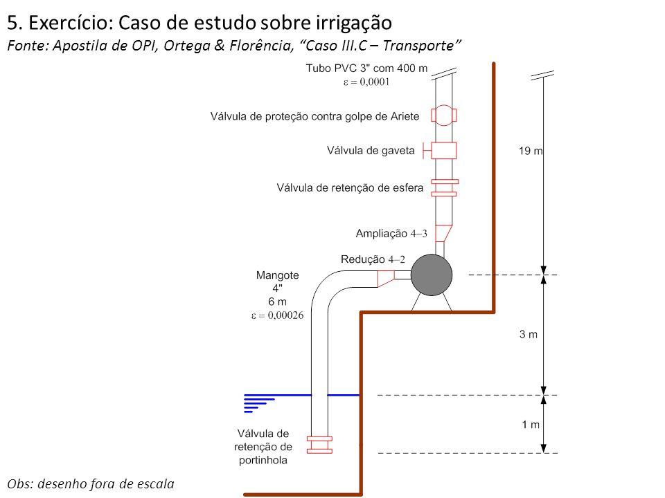"""5. Exercício: Caso de estudo sobre irrigação Fonte: Apostila de OPI, Ortega & Florência, """"Caso III.C – Transporte"""" Obs: desenho fora de escala"""