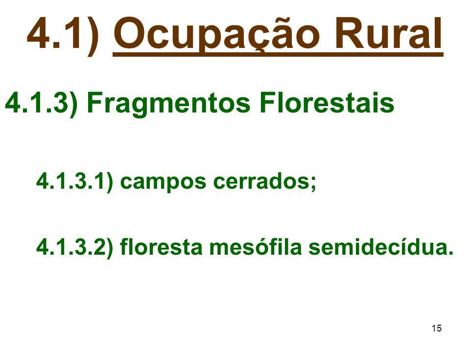 15 4.1) Ocupação Rural 4.1.3) Fragmentos Florestais 4.1.3.1) campos cerrados; 4.1.3.2) floresta mesófila semidecídua.