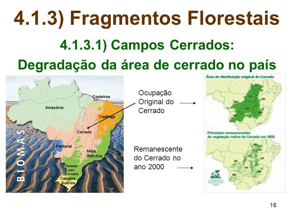 16 4.1.3) Fragmentos Florestais 4.1.3.1) Campos Cerrados: Degradação da área de cerrado no país Ocupação Original do Cerrado Remanescente do Cerrado n