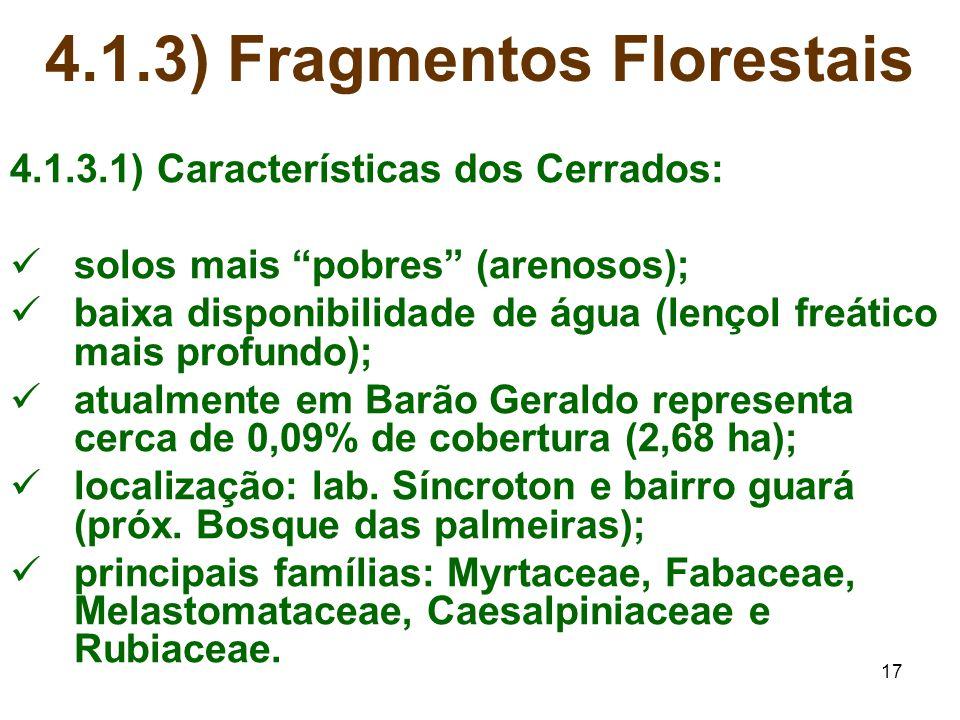 "17 4.1.3) Fragmentos Florestais 4.1.3.1) Características dos Cerrados: solos mais ""pobres"" (arenosos); baixa disponibilidade de água (lençol freático"