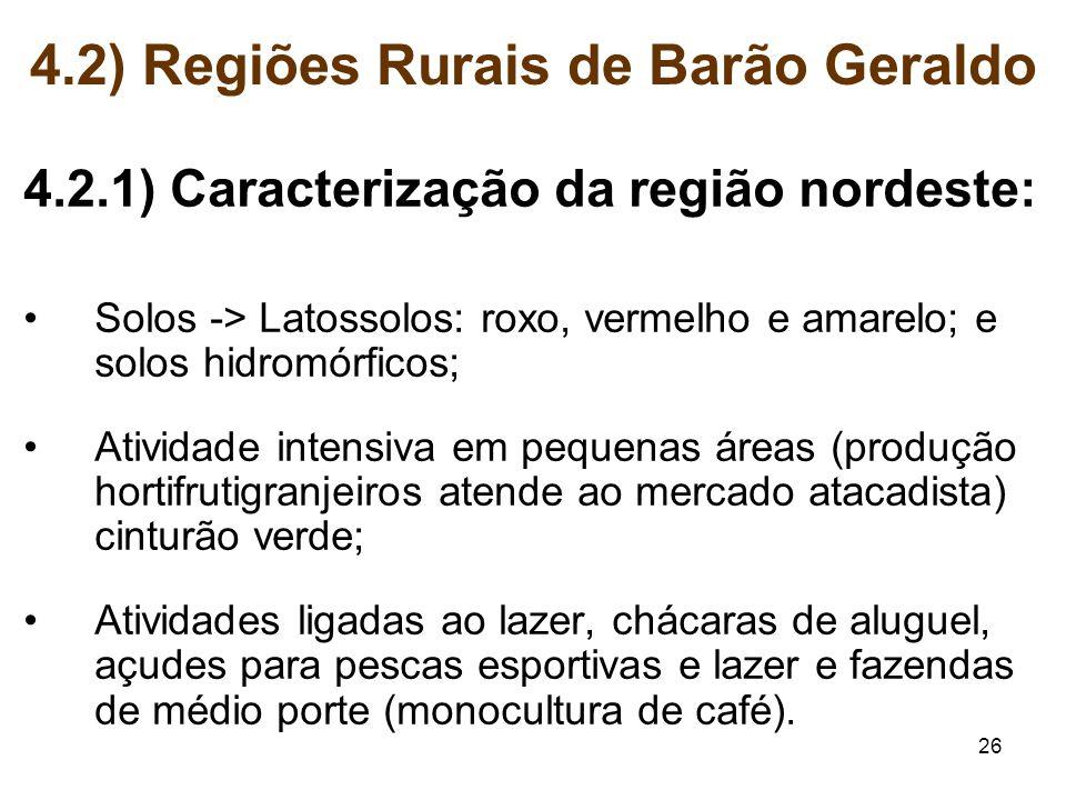 26 4.2) Regiões Rurais de Barão Geraldo 4.2.1) Caracterização da região nordeste: Solos -> Latossolos: roxo, vermelho e amarelo; e solos hidromórficos